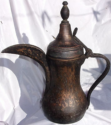 19th century LARGE Antique dallah Saudi-Middle East SIGNED hammered Copper pot