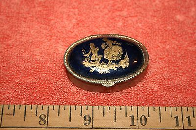 Vintage Pill Box Courting Couple on Porcelain on Metal Some Rust