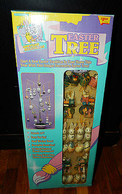 """Vintage sealed 18"""" Easter Tree With wooden wood Egg bunny misc Ornaments NEW"""