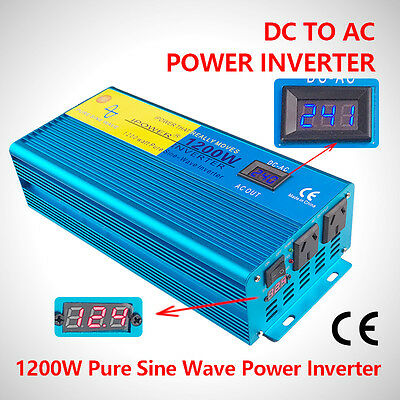 Dual Display 1200W 2400W Peak Pure Sine Wave power Inverter DC 12V TO AC 240V