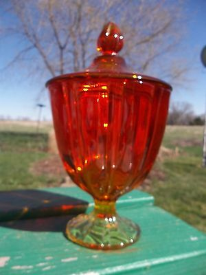 """Vintage Amberina Ruby Red Glass Candy Dish Compote Large  10 1/2"""""""