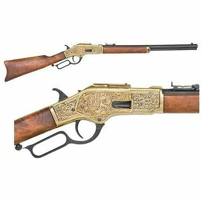 Winchester M1873 Engraved Lever Action Replica Rifle - Gold movie prop denix gun