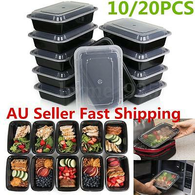 10/20Pcs 24oz Meal Prep Containers Plastic Food Storage Reusable Lunch Box AU