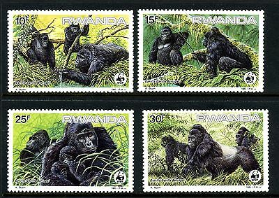 Rwanda 1985 World Wildlife Fund Gorilla Stamp Set
