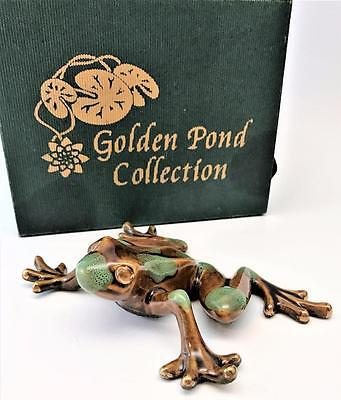 Beautiful Golden Pond Collection Ceramic Frog Figurine ~ Mint In Box