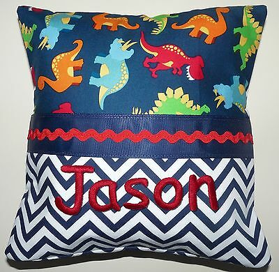 """NEW Personalized Tooth Fairy Pillow Dinosaur with Embroidered Name 10"""" x 10"""""""