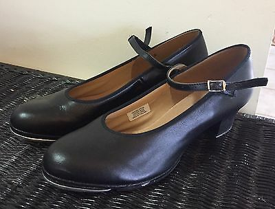 BLOCH Techno Tap Black All Leather Dance Shoes ~ Women's Sz. 11.5 : Fits 10-10.5