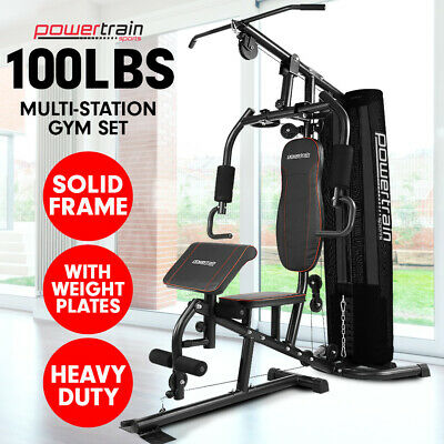 New Multistation Home Gym Exercise Equipment Total Workout Fitness Weights 80lbs