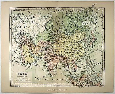 Original Map of Asia by W&R Chambers 1868. A Stone Chromo-Lithograph