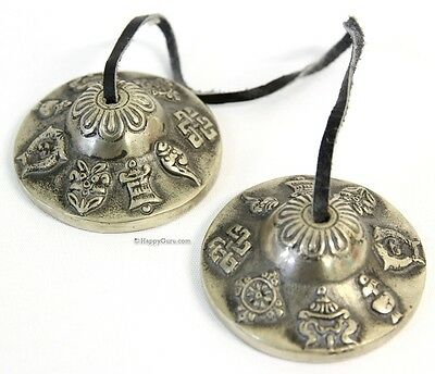"Tibet Chanting Puja Cymbals Indian White Metal ""motif"" Mini"