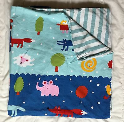 IKEA Barnslig Natten Crib Duvet Cover Blue Stripe Elephant Fox Owl Snake Bird