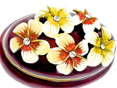 Plumeria Flower Jewelry Trinket Box Crystal Bejeweled Hinged Enamel Collectible
