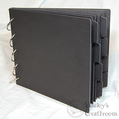"2 scalloped 8 straight 3.25/"" x 5/"" Mini Chipboard Album #1 10 pages 3 rings"