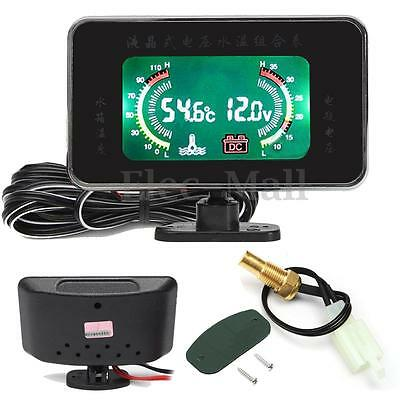 12V / 24V Car Truck LCD Digital Display Voltmeter Water Temp Temperature Gauge