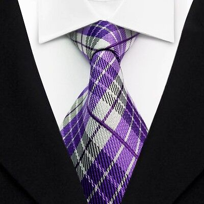 New Classic Striped Ties Purple Gray JACQUARD WOVEN Silk Men's Tie Necktie LT081