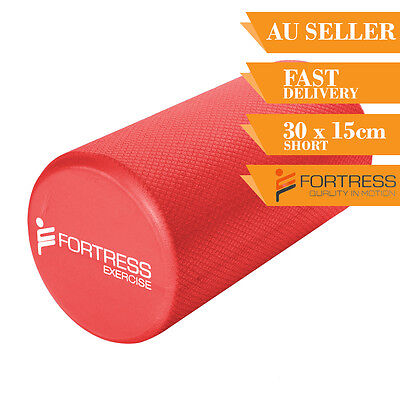 Foam Roller FORTRESS Short Round Solid Body Therapy Red Yoga Fitness