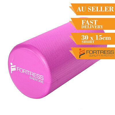Foam Roller FORTRESS Short Round Solid Body Therapy Pink Yoga Fitness