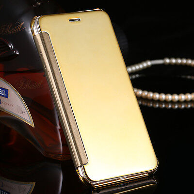Luxury Mirror View Glossy Reflective Flip Gold Case Cover For iphone6/6s{pO143