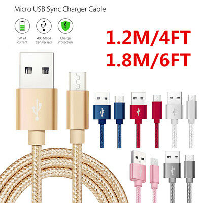 Metal Strong Braided Over 2A Quick Charger Micro USB Data Sync Charging Cable