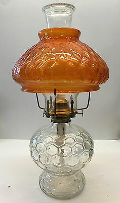 Antique CLEAR PRESSED GLASS Oil Lamp with Glass Chimney & AMBER QUILTED SHADE