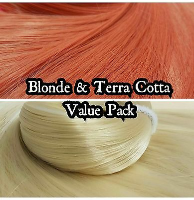 Terra Cotta Orange& Blonde Value Pak Nylon Doll Hair Reroot Barbie Monster High