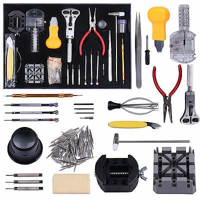 155 Pcs Watch Repair Tool Kit Watchmaker Back Case Battery Cover Remover Opener