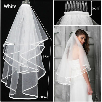 2T White Wedding Bridal Veil Satin Edge With Comb Elbow Simple Cathedralk NEW
