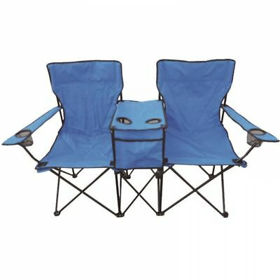Double Blue Folding Camping Deck Chair Outdoor Fishing Picnic Beach Garden Seat