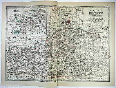 Original 1902 Map of Kentucky by The Century Company