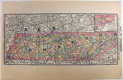 Original 1885 Railroad Map of Tennessee by Rand McNally