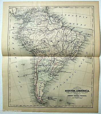 Original Johnson's 1886 Copper-Plate Map of South America