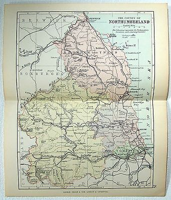 Original Philips 1891 Map of The County of Northumberland, England