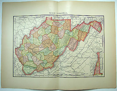 Original 1895 Map of West Virginia by Rand McNally