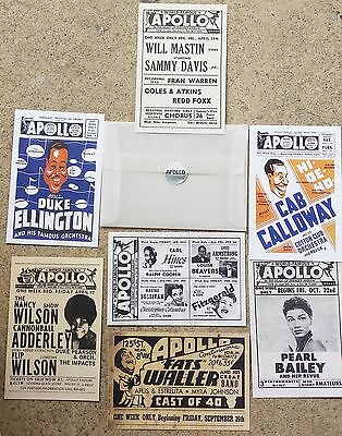 "APOLLO THEATER POSTCARD LOT of 7:  4""x6"" vintage poster/handbil reproductions"