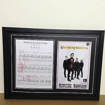 Stereophonics Genuine Hand Signed/Autographed Songsheet with a Poster and COA