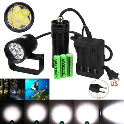 10000LM 6*XM-L2 LED Rechargeable Diving Flashlight Torch Underwater 150m 3x18650
