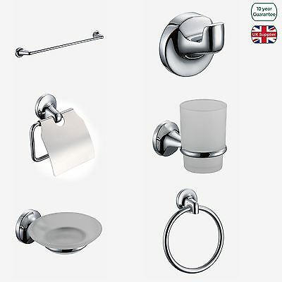 Modern Bathroom Chrome Glass, Stainless Steel Accessory Set