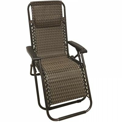 Deluxe Folding Chair Metal Recliner Deck Lounger Garden Patio Seat With Armrest