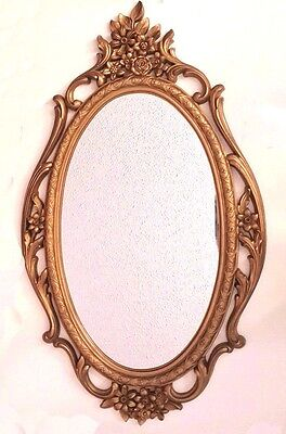 """Vintage Antique Gold Finish Ornate Oval Syroco Wall Mirror 29.5"""" X 17.5"""""""