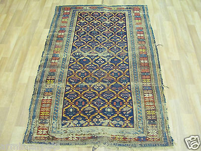 ANTIQUE BRILLIANT OLD HANDMADE RUSSIAN ORIENTAL RUG (148 x 99 cm)