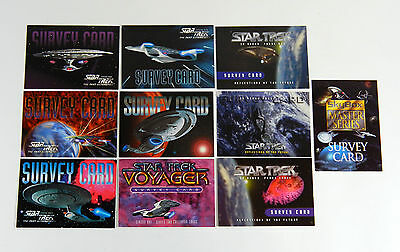 9 Different Star Trek Survey Cards * 30 Years Voyager The Next Generation Master