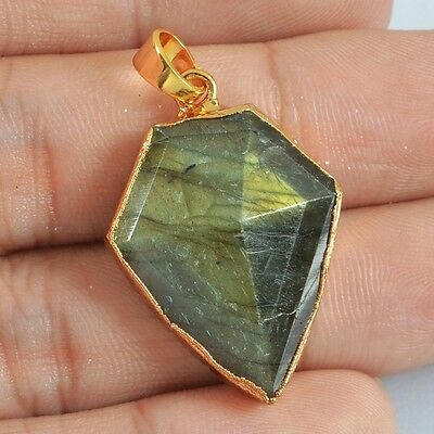 Natural Labradorite Faceted Pendant Bead Gold Plated B024192