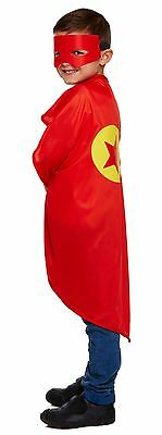 New World Book Day Fancy Dress Super Hero Childrens Red Dressing Up Oufit Mask