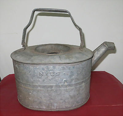 Vintage Galvanized NYCS Railroad Goose Neck Water Can Train Oil NY Central