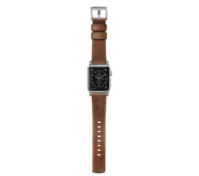 Nomad Leather Watch Strap for Apple Watch 42mm - Brown with Silver Lugs - UD