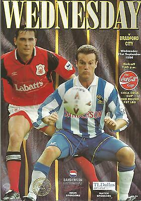 Football Programme - Sheffield Wednesday v Bradford City - League Cup - 1994