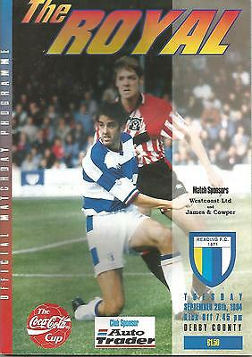Football Programme - Reading v Derby County - League Cup - 20/9/1994
