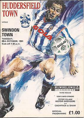 Huddersfield Town v Swindon Town - League Cup - 1991 - Football Programme