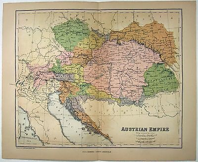 Original Map of Austrian Empire by W&R Chambers 1868. Hungary Bohemia Galicia