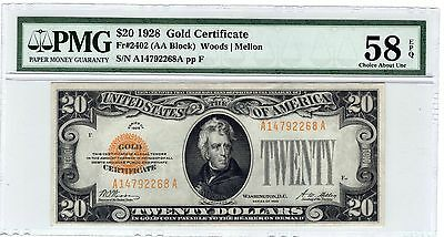 1928 $20 Small Size Gold Certificate - PMG Graded AU58 EPQ !!